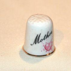 MOTHER Vintage thimble Ashleydale England bone china Heart pink roses gold trim