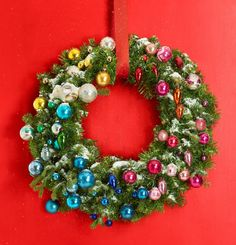 A faux wreath, pine