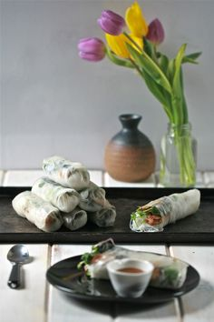 Spring roll with shiitake, tofu and nori, macrobiotic recipe