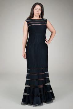 Pintuck Jersey Gown in Black - Plus Size Evening Shop | Tadashi Shoji
