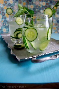 Came across this great metabolism boosting detox water infusion drink made of only a few readily available ingredients: 1 Cucumber (sliced, peel left on) , 1 lime (sliced, peel left on), handful of mint (crushed), and water. Tastes great.