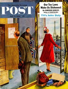 Paris Hotel. Saturday Evening Post, July 14, 1956 (Constantin Alajalov)