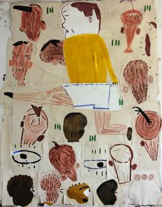 "Rose Wylie ""Footballers Heads"" oil on canvas"