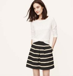 Corded Stripe Pleat Skirt | Loft