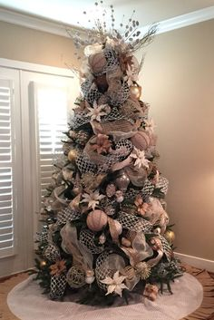 Christmas tree burlap silver gold white