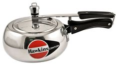 Hawkins Contura Pressure Cooker, Litre - The Contura pressure cooker has a unique body with roudd sides for easier stirring, better visibility and easy removal of food. Rice Cooker, Slow Cooker, Stainless Steel Pressure Cooker, Yogurt Maker, Dutch Oven Cooking, Electric Pressure Cooker, Cooking Utensils, Steamer, Kitchenware