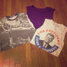 Crop top bundle 3 hand cut crop tops for one: Your Eyes Lie brand black and white cityscape top, purple American Apparel top, Altru JFK for president graphic top. Tops Crop Tops