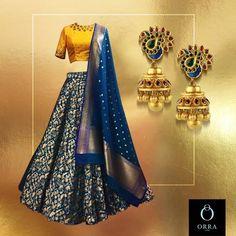 Only if the blouse was a little more on the gold side instead of yellow Half Saree Lehenga, Lehnga Dress, Indian Lehenga, Banarasi Lehenga, Lehenga Blouse, Anarkali, Gown, Half Saree Designs, Lehenga Designs