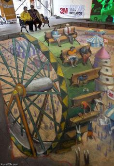 3D Chalk Art ... Sidewalk Street Art (WOW) but its kind of creepy. Look at the bottom of the pic!