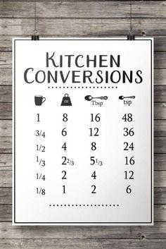 Kitchen conversions chart | Printable art | cooking kitchen measurements sheet | modern farmhouse | kitchen dweller | chef cook kitchen #farmhouse #kitchen #printables #affiliate