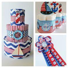Douche de bébé nautiques gâteau de couches par LilLoveBugsCreations
