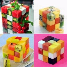 Fruity Rubik's cube Good Food, Yummy Food, Healthy Food, Fun Food, Healthy Eating, Different Cakes, Mixed Fruit, Food Decoration, Small Cake