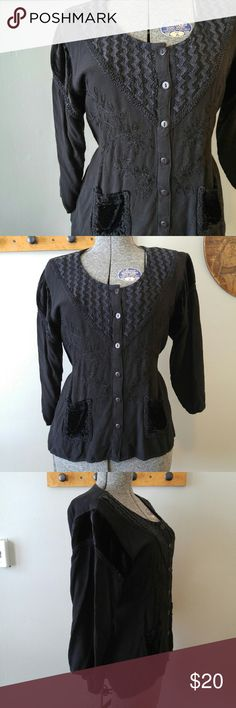 """Boho embroidered black peasant top osfm This beautiful boho style top is lightweight and comfortable! It is made of soft black fabric that is embroidered beautifully. Two small velvet pockets. Tie at back for shape. Button front. One size fits most. It is in great shape and is from a smoke free home :) Bust: 40""""  Length: 22.5"""".  POSHD8388boho888 Tops Blouses"""