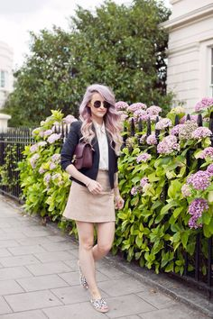 Sunday somewhere round black sunglasses finish off this summer look with a tan suede skirt from river island, a navy Maje blazer, an ox blood Celine Box Bag dupe and Stella MCartney Espadrilles
