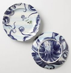 I love my octopus plates from Anthropologie! Kraken, Decoration Table, Tentacle, Dinner Plates, Dinnerware, Tea Party, Pattern Design, Anthropologie, Decorative Plates