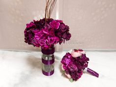 Purple Burgandy And White Bouquets