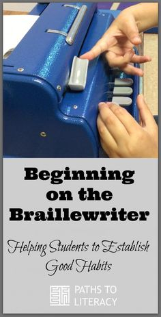 Video demonstration of beginning braille student learning good habits on the braillewriter