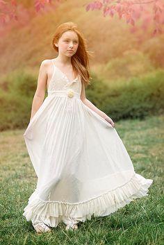Floor Length Ivory Boho Flower Girl dress,Girls Maxi Dress, Rustic Flower Girl Dress, Special Occasion, Shabby Chic Wedding