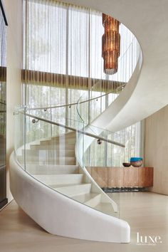 Dramatic Spiral Staircase in Modern North Haven Home