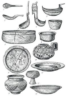 Early Rus wooden carved foodware. Bowls, spoons, plates, goblets