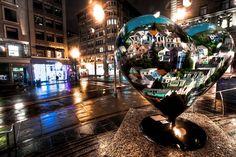 Hearts in San Francisco on a rainy night.