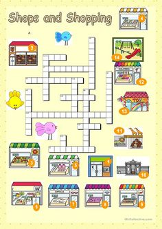 Shops and shopping crossword