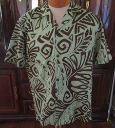 Vtg Royal Hawaiian Cotton Shirt Men Large Green Brown Tiki Floral Palm USA #RoyalHawaiian #Hawaiian