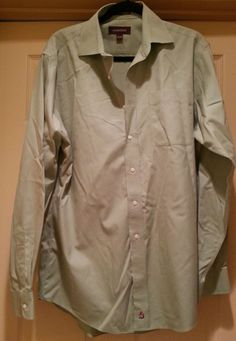 Nordstrom Green Wrinkle Free Shirt Size 151/2 35 Button Down 100% Cotton Pocket  #Nordstrom
