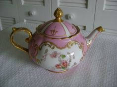 Antique-Continental-Mini-Teapot-Pink-with-Raised-Gold-Floral