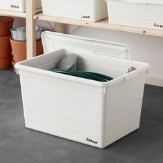 IKEA - SOCKERBIT, Box with lid, white, Practical for storing everything, from seasonal clothes and shoes to sports items and tools. The built-in locking function keeps the lid in place which protects your things from dirt and dust. Storage Boxes With Lids, Small Storage, Ikea Storage Boxes, Garage Storage, Algot, Moving Boxes, Baby Gates, Paint Colors For Living Room, White Box