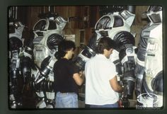 Special Effects Character Creators Shannon Shea and Alec Gillis prep the Stan Winston Studio LEVIATHAN dive suits at Rome's Cinecitta Studios.