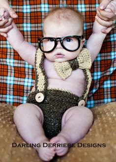 Bowtie and Suspenders Diaper Cover Crochet Pattern... How CUTE!?