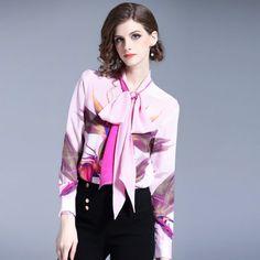 Silk Shirt Dress, Bow Blouse, Dress Shirts, Women Bow Tie, Chiffon, Office Fashion Women, Trendy Fashion, Fashion Outfits, Floral Print Shirt