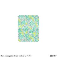 Cute green yellow floral pattern card holder