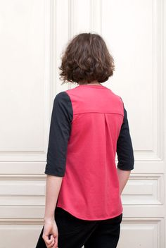 Refashioned, Colour-Blocked Thread Theory Camas Blouse: Side Back