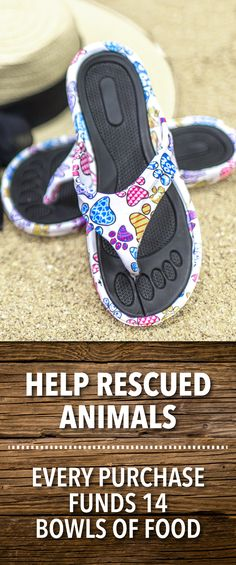 Click to shop now! Form-fitted, textured grip foot bed and soles make our Rainbow of Paws Flip Flops extra comfy and sets them apart while the splashy paw prints give them eye-candy appeal. Fashionable for the beach or wherever life takes you!