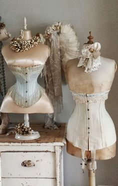 Antique French Dress forms and cherry blossom tiaras