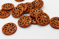 20-Flower-Filigree-Wood-Buttons-Natural-Brown-Wooden-Large-Coat-Chinese-30mm