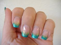 Teal French tips