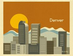 Denver colorado black gray skyline print by thesunnysideupshop denver colorado skyline and rocky mountain malvernweather Image collections