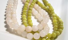 Pale Pink Aventurine and Olive Jade Torsade Necklace
