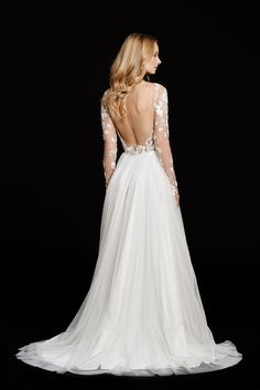 Remmington -- Long sleeve A-line bridal gown, illusion floral beaded bodice with low open back // Hayley Paige Bridal Gowns Fall 2015 Collection