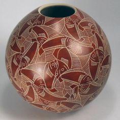 Mata Ortiz Pottery by Leonel Lopez Sgraffito Fish Olla | eBay