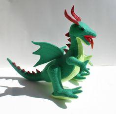 Fantastical Green Dragon Stuffed Animal by TheRoamingPeddlers