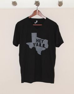 Black // Texas Hey Y'all // Adult Shirt by DeepRootsShop on Etsy
