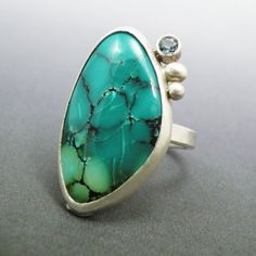 Summer Dew. Sterling silver ring with turquoise and Swiss blue topaz.