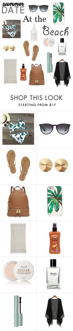"""Summer date at the beach"" by viviandoan1103 ❤ liked on Polyvore featuring Ray-Ban, Tkees, Eddie Borgo, Michael Kors, Kate Spade, IGH, Hawaiian Tropic, Fresh, Bobbi Brown Cosmetics and beach"