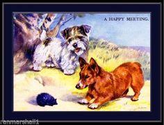 Originally printed in the early Corgi Pembroke, Corgi Dog, Sealyham Terrier, Types Of Dogs, Vintage Dog, Dog Art, Dog Breeds, Moose Art, Illustration Art