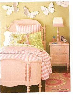 my little girls room someday? looks bout right. Butterfly Bedroom, Butterfly Wall, Daughters Room, Pink Kids, Pink Room, Girls Bedroom, Bedroom Ideas, Bedrooms, Little Girl Rooms