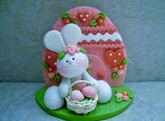 Bunny - Easter Basket - Easter Egg House - Polymer Clay - Figurine